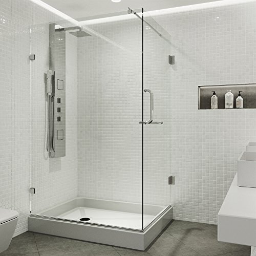 VIGO Pacifica 36 x 48-in. Frameless Shower Enclosure with .375-in. Clear Glass and Chrome Hardware (Right Base included)