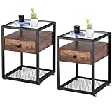 VECELO Modern Night Stands, End Side Table, Cabinet with Drawer Shelf Decoration...
