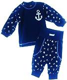 Baby Anzug 62 68 74 Hose & Longsleeve Langarmshirt Shirt Kombi Blau Set (68)