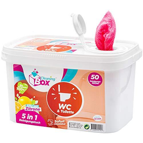 CleaningBox® 5-in-1 Kompostierbare WetCleanWipes Feuchte WC Reinigungstücher für WC & Toilette, 50x Feuchttücher Toilettenreiniger, Rot 30x30 cm - Biologisch Abbaubar und Made in Germany