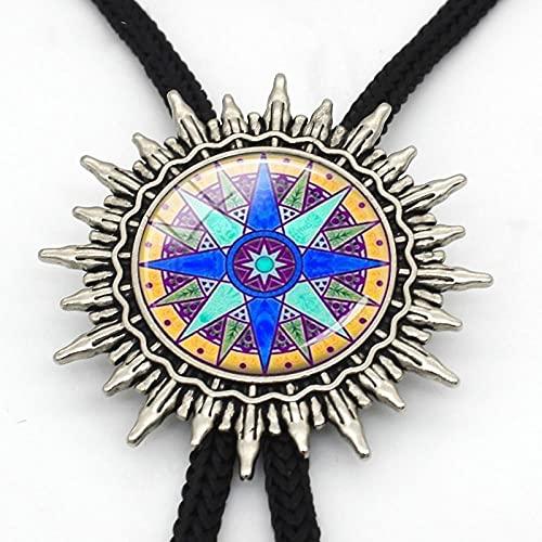 Wuyuana Bolo tie Bolo - Brújula colgante de bolo, brújula, corbata de brújula, joyería náutica, diseño de rosas, lazo de metal para regalo para hombre (color 4)