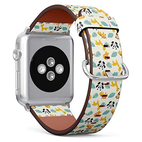 Compatible con Big Apple Watch 42 mm y 44 mm – Correa de Repuesto para Reloj de Pulsera, Correa de Piel con Cierre de Acero Inoxidable y Adaptador (Fun Summer Animal Zoo)
