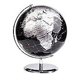 Exerz 20cm Globo Terráqueo - en Inglés - Decoración de escritorio educativa/geográfica/moderna - Con una base de metal - Negro Metálico - Diámetro: 20cm