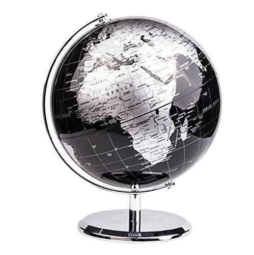 Exerz Metallisch Globus (Durchmesser: 20 cm) - Schülerglobus Pädagogisch/Geografisch/Dekoration - Mit einem Metallfuß - in Englischer Sprache (Metallisches Schwarz)