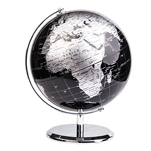 Annova Metallic World Globe (Dia 8-Inch / 20cm) Black – Educational/Geographic/Modern Desktop Decoration - Stainless Steel Arc and Base/Earth World - Metallic Black - for School, Home, and Office