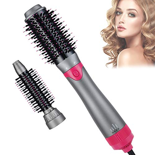 Hair Dryer Brush, 4 in 1 Upgraded Detachable Hot Air Brush Set, with 2 Brush Heads Hair Dryer and Volumizer, Negative Ion Hair Dryer Brush for Reducing Frizz and Static (Gray)