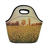 Tragbare Lunch-Tasche, Landschaft, Sonnenblumen-Feld am Sonnenuntergang-Wald-Hintergrund mit...