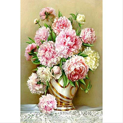Volledige Vierkante Boor 5d DIY Diamant Schilderij Roze Bloem in Vaas Borduurwerk Cross Stitch 5d Home Decor Gift