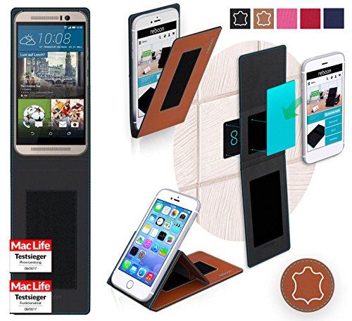 Hülle für HTC One M9s Tasche Cover Hülle Bumper   Braun Leder   Testsieger