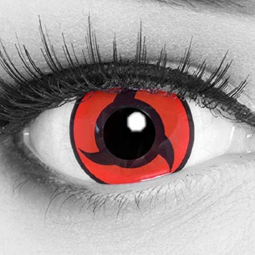 Meralens A0469 Itachi Kontaktlinsen mit 60ml Pflegemittel mit Behälter ohne Stärke. Perfekt zu Halloween, Fasching und Cosplay. 1er Pack (1 x 2 Stück)