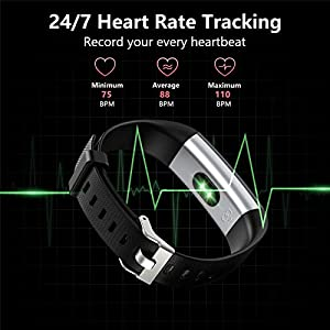 Akasma Fitness Tracker HR, S5 Activity Tracker Watch with Heart Rate Monitor, Pedometer IP68 Waterproof Sleep Monitor Step Counter for Women Men (Black)
