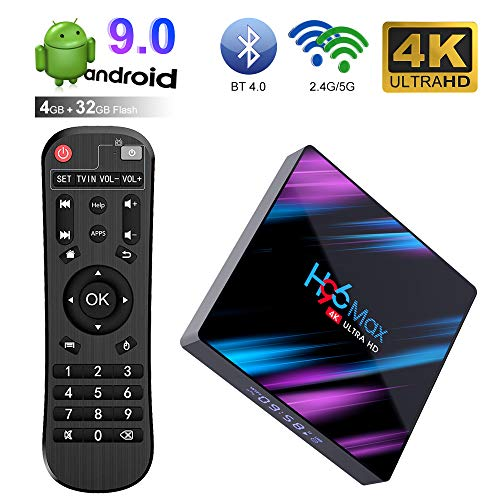Android TV Box 9.0 H96 MAX 4GB RAM + 32GB ROM con RK3318 Quad-Core 64bit Cortex-A53 4K Ultra HD Smart TV Box Soporte 2.4G/5,8 GHz Dual WiFi 100M LAN H.265 3D Bluetooth 4.0 Set Top Box