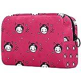 Bolsas de cosméticos para mujer grandes y lindas historietas rosadas japonesas Doodle Geisha bolsa portátil bolsa de viaje maquillaje neceser organizador con cremallera