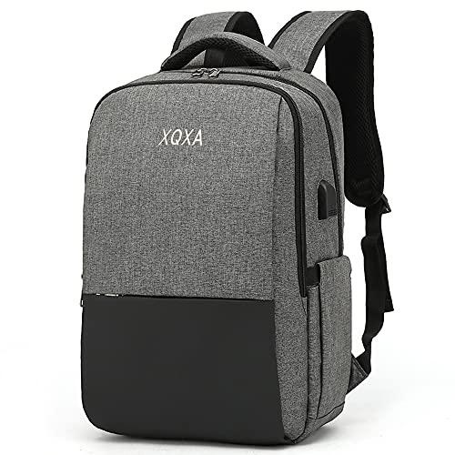 XQXA Mochila para computadora portátil de 15.6 pulgadas, mochila para hombres con puerto de carga USB, mochila para computadora portátil gris para viajes diarios de oficina de negocios