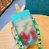 Cute Water Bottles with Strap for Kids , Kawaii Water Bottles with Straws and Adjustable Shoulder Strap for children Leakproof Plastic Drink Water Bottles for Back to Shchool, BPA Free