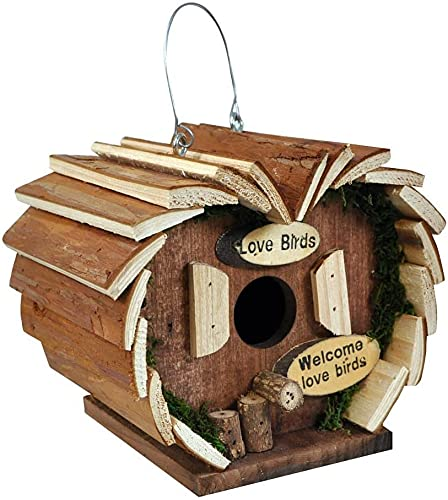 Ossian Bird Hotel – Durable Rustic Wooden Weatherproof Bark Wood Hanging Wild Bird Nesting House Perch Box and Feeder Feeding Station for Outdoor Home Garden - Easy to Install – No Tools Required
