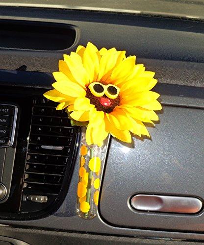 Auto Vase–Sonnenblume gelb Brille mit Universal Vase