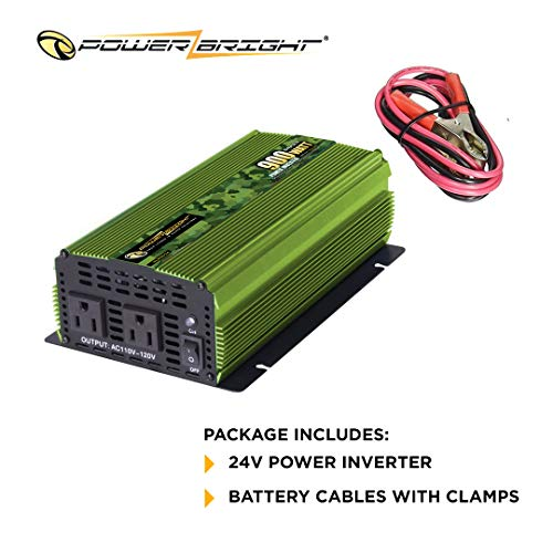 Power Bright 900 Watt 24V Power Inverter, Dual 110V AC Outlets, Modified Sine Wave, Back Up Power Supply for Small appliances, Battery Cables with Clamps for Simple Battery Connection Included