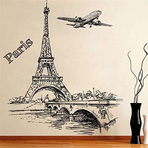 YSNMM Romantische Toren Parijs Vliegtuigen Woonkamer Slaapkamer Restaurant Tv Sofa Achtergrond Decoratie 3D Venster Muurstickers Home Decor