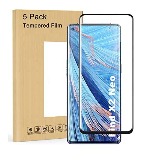 LJSM Vidrio Templado para OPPO Find X2 Neo [5 Piezas] Protector de Pantalla Proyectar película Protectora Cristal Vidrio Templado para OPPO Find X2 Neo (6.5
