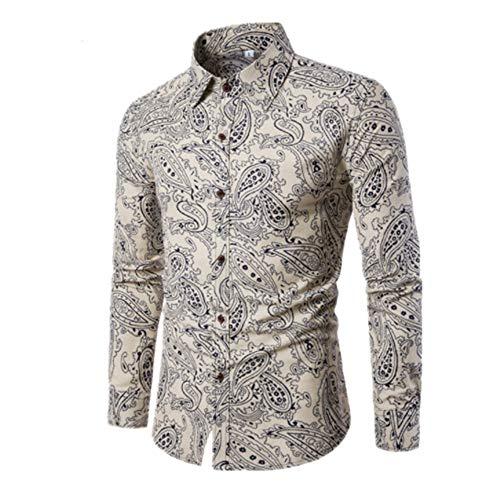 Herren Hemd Regular fit Langarm Hemden Slim-Fit Revers Patchwork Drucken Tasten Hemd Frühling und Herbst Gemütlich top Winter Bottoming Shirt M
