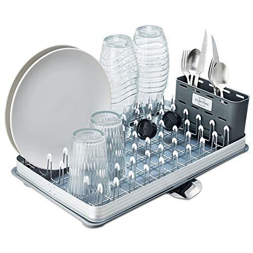 SILBERTHAL Escurreplatos encimera con 2 Patas | Escurreplatos Fregadero con desagüe y escurrecubiertos | Escurre Platos y Vasos de Cocina