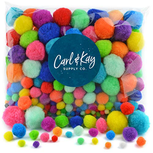 Carl & Kay Jumbo Assorted Size 360 Pom Poms for Crafts, Creative Kid's Gift, Multi Colored Big Pompoms, Jumbo & Large Craft Pom Pom Ballspc