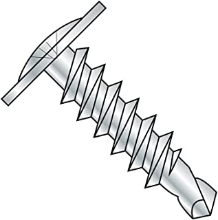"""Steel Self-Drilling Screw, Zinc Plated Finish, Modified Truss Head, Phillips Drive, #3 Drill Point, #12-14 Thread Size, 1"""" Length (Pack of 50)"""