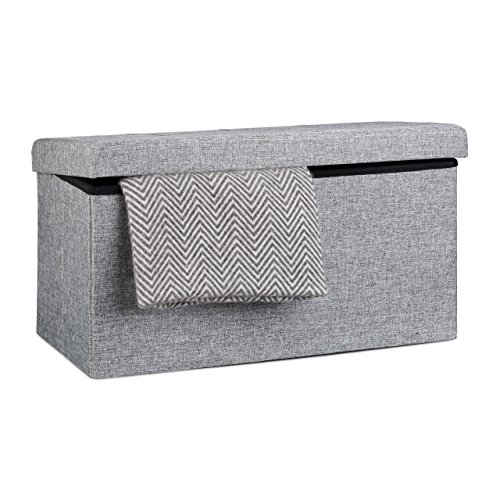 Relaxdays faltbare Sitzbank XL, Leinen, grau, 76x38x38cm - 3