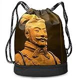 Sacs de Sport, Sacs à Dos, Anime Drawstring Backpack Terracotta Warriors Print Travel Sport Yoga Gym Sack Bag Outdoor Bundle Backpack Laptop Bag Beach Rucksack for Men/Women