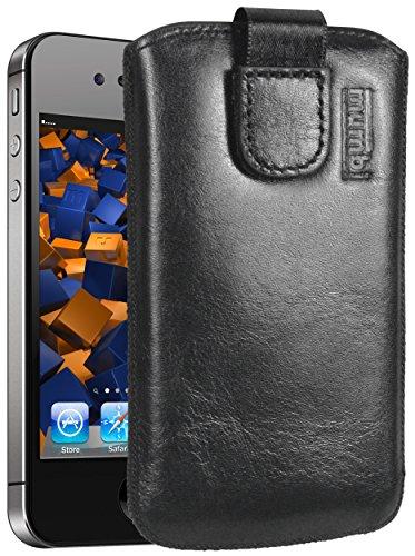 mumbi Echt Ledertasche kompatibel mit iPhone 4 / 4S Hülle Leder Tasche Hülle Wallet, schwarz