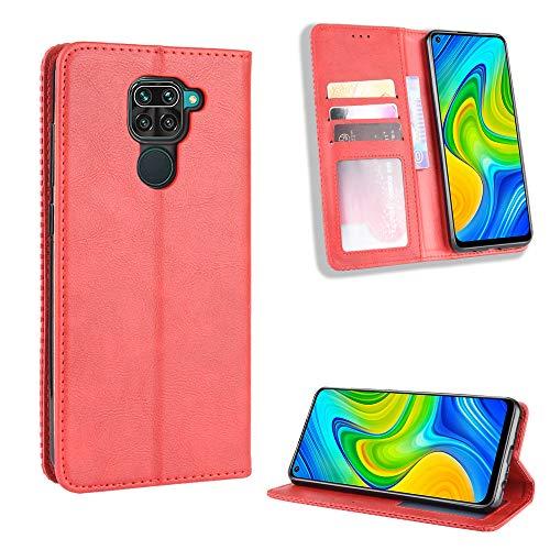 LODROC Xiaomi Redmi Note 9 / 10X 4G Hülle, TPU Lederhülle Magnetische Schutzhülle [Kartenfach] [Standfunktion], Stoßfeste Tasche Kompatibel für Xiaomi Redmi Note9/10X 4G - LOBYU0101200 Rot