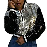 OTW Womens Stand Collar Sequins Baseball Coat Zipper Stylish Bomber Jackets Silver L