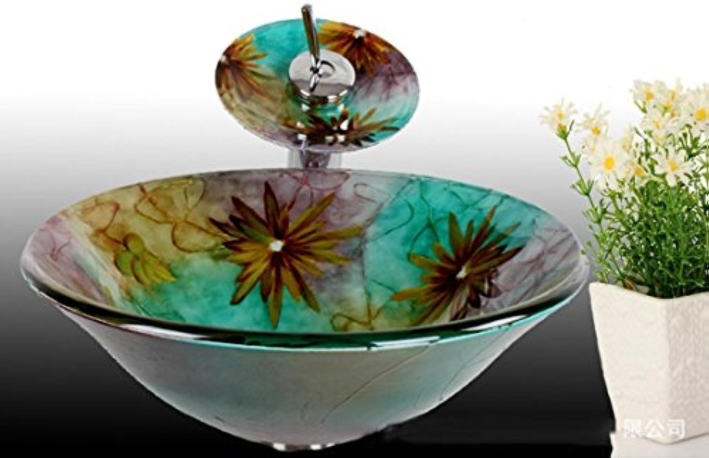 - rund Waschbecken aus Sekuritglas mit Wasserfall Wasserhahn Pop–Up Drain und Montagering