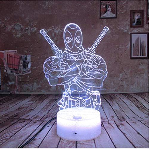 FREEZG Lámpara 3D Deadpool Remote Best Gift For boys Acrylic Table Night light Muebles Decorativo colorido cambio de color 7 Inicio