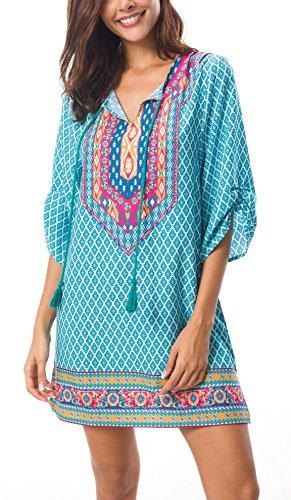 EXCHIC Damen V-Ausschnitt Tunika Sommer Strandkleid Minikleid Bohemian Kleider (L, 1) …