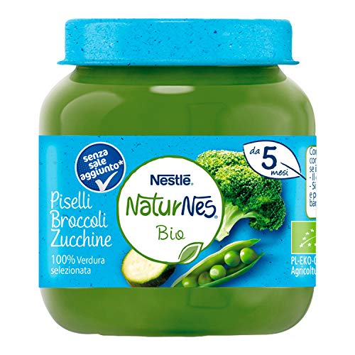 Nestlé Naturnes Omogeneizzato di Verdure Piselli Broccoli e Zucchine da 5 Mesi, 12 Vasetti da 125 g