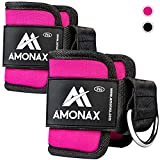 Amonax Tobillera para polea (Acolchado) para piernas y Tobillos, Correas Tobillos Gym Cable maquinas, Gimnasio, Fitness - Mujeres y Hombres (Rosa, 2 Piezas)