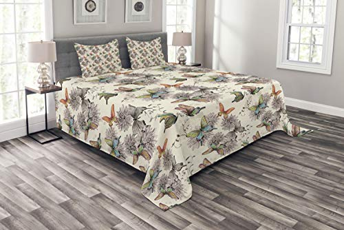 Ambesonne Butterfly Bedspread, Flying Animals Hand Drawn Watercolor Effect Image Soft Color Palette Wildflowers, Decorative Quilted 3 Piece Coverlet Set with 2 Pillow Shams, Queen Size, Blue Tan