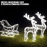 Set Renne luminose con slitta di Natale