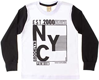 Camiseta Infantil Ny Branco e Preto - Hrradinhos
