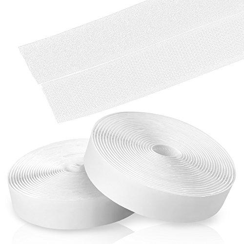 Kktick Hook y Loop Autoadhesivo Fuerte,Velcro Doble Cara de vuelta Auto adhesivo cinta rollo,Cinta de Gancho y Bucle, 5m x 20mm(Blanco)