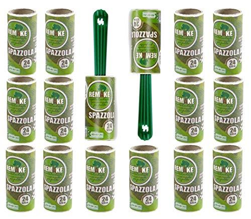 remake Fusselrolle 16+2 Nachfüllpackung (95% recyceltes Material. 24 Lagen) Lagen Easy-Peel. Geeignet für Haare, Staub, Kleidung, Tierhare. 100% Klebstoff. Made in Italy