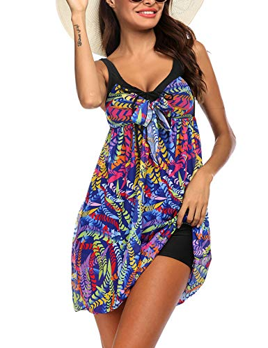 Balancora Tankini Damen Bikini Cover Up Badekleid Druck Tunika Bluse Lang Strandkleid mit Badehose Damen Shirt Strandponcho Sommer Cuffed Sleeve Shirts Tops