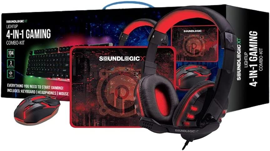 SOUNDLOGIC XT Light-UP Four-in-One Gaming Combo Kit with Gaming Keyboard, Gaming Mouse, Mouse Pad, and Gaming Headphones.