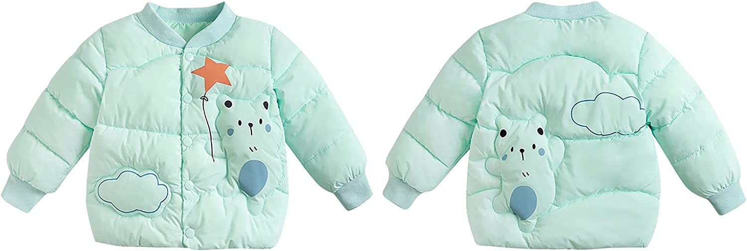 Toddler Jackets for Girls, Baseball Collar Quilted Jacket, (3-8 Years) Autumn and Winter Boys Girls Cartoon Bear Clothes
