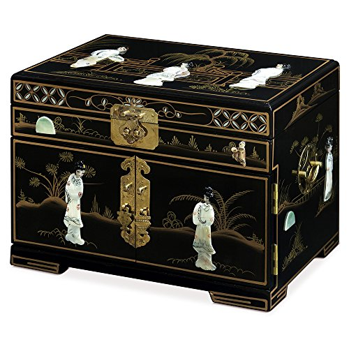 China Furniture Online Jewelry Box with Mother of Pearl Maidens on Black Lacquer