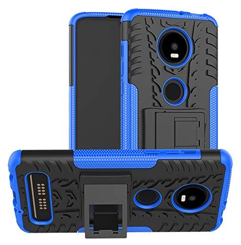 Yiakeng Moto Z4 Case, Moto Z4 Play Case, Dual Layer Shockproof Wallet Slim Protective with Kickstand Hard Phone Cases Cover for Motorola Moto Z4 (Blue)