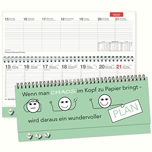 """Tischquerkalender 2021 mit Hardcovereinband Spiralkalender quer""""Chaos"""" Wochenplaner 1 Woche 2 Seiten auf 128 Seiten Sonn-und Feiertage in Rot"""