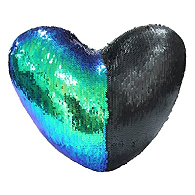 J-hong Mermaid Pillow with Pillow Insert, Two-Color Decorative Heart Shape Reversible Sequin Throw Pillow 13''×15''